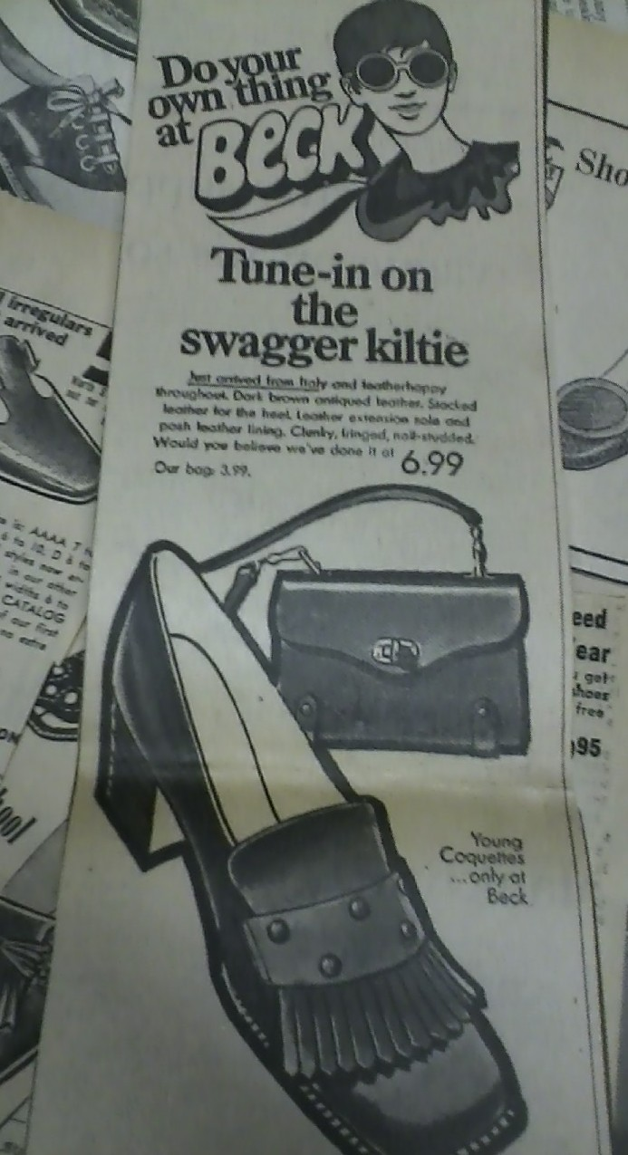 This shoe ad was in a Boston Globe Newspaper from the early 1960s. Beck  shoes had a couple shops in Massachusetts, and had fresh graphic arts that  spoke to ...